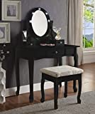 3-Piece Wood Make-Up LED Light Mirror Vanity Dresser Table and Stool Set, Black