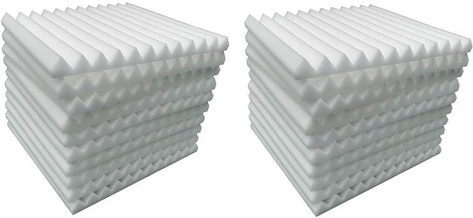 20PCS Aislante Acústico pared de Algodón Material de Esponja de Algodón que absorbe el Sonido KTV Estudio de Aislamiento de Algodón Silenciador Algodón material de Aislamiento Acústico (blanco): Amazon.es: Hogar