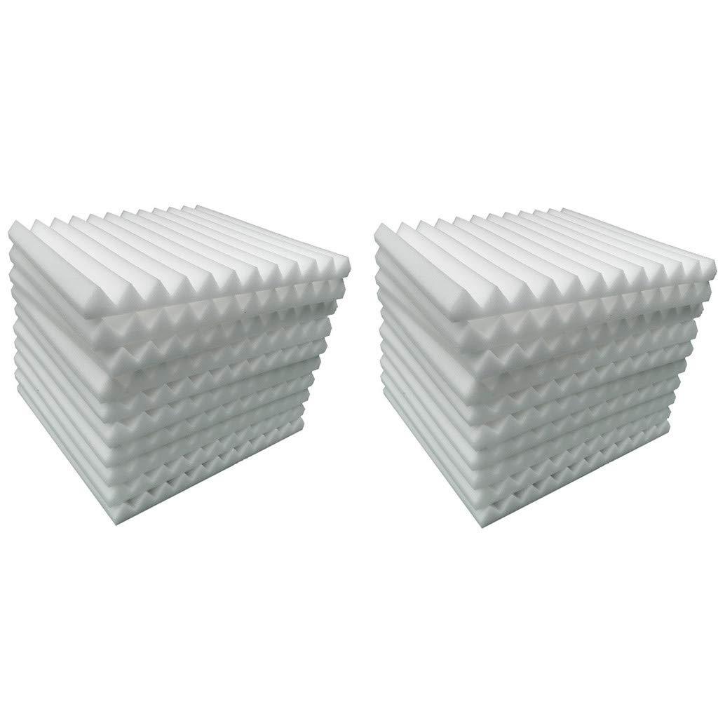 Jchen 20 Pcs Soundproofing Studio Foam, Acoustic Panels Studio Foam Wedges Soundproof Padding Wall Panels 1'' X 12'' X 12'' for Studios, Recording Studios, ontrol Rooms, Offices, Home (White)