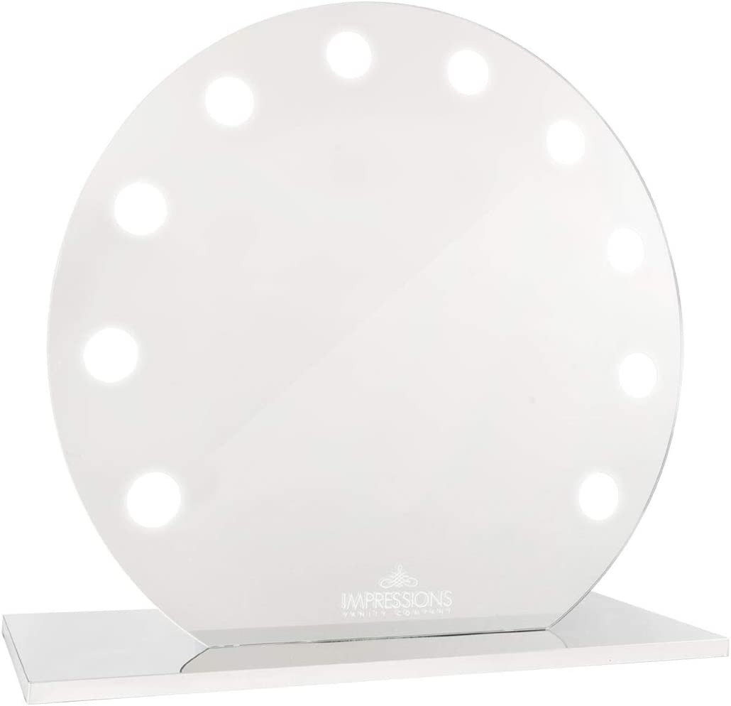IMPRESSIONS SUNSET MIRAGE Makeup Mirror with LED Lights, Round Shape Vanity Dressing Mirror with Standing Base and Power Outlet