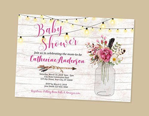 Rustic Baby Shower Invitations, Wood & String Of Lights Baby Shower Invitations, Country Flowers Mason Jar Baby Shower Invitations, Boho Baby Shower Invitations