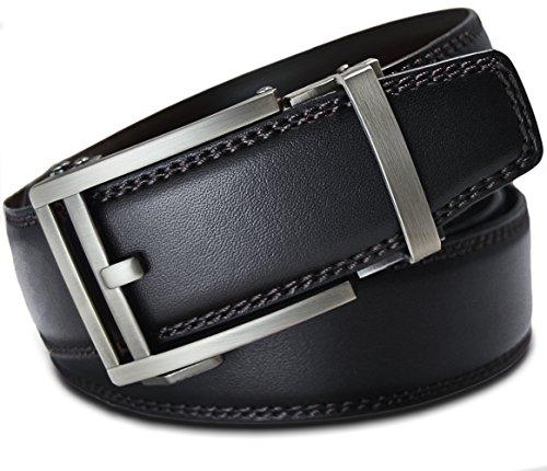 Men's Leather Ratchet Click Belt - Hemingway Matte Silver Buckle w/Double Stitched Black Leather Belt (Trim to Fit: Up to 35'' (Black Stitched Leather)