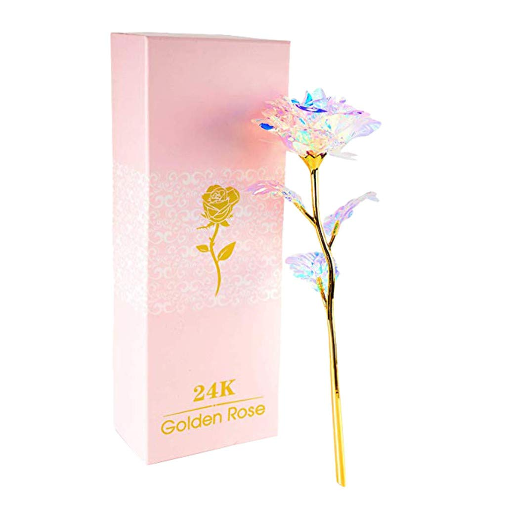 callm 24K Colorful Rose Artificial Flower Unique Gifts Valentine's Day Thanksgiving Mother's Day Girl's Birthday, Best Gifts for Her for Girlfriend Wife Women (Colorful)