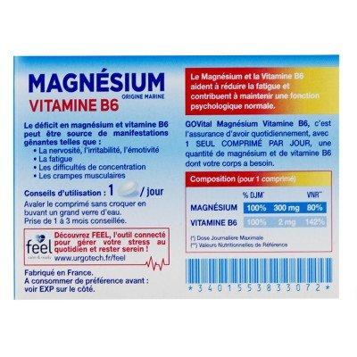 Magnésium Vitamine B6 45 comprimés Govital: Amazon.es: Salud y cuidado personal