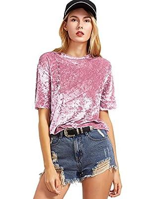 ROMWE Women's Velvet O Neck T-Shirt Tee Top Blouse
