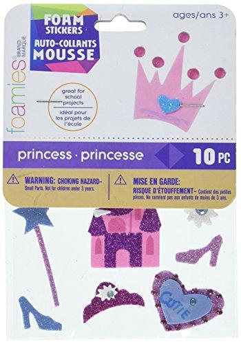 Darice Foamies Stickers-Princess-10 Pieces 3-D Glitter Stickers