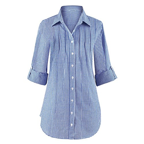 Womens Gingham Pintuck Button Cotton