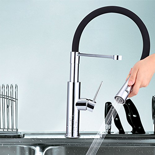 Rubber Hose Pull Out Single Lever Kitchen Faucet with 360 Degree Swivel Spout Kitchen Mixer Bar Sink Faucet (Beige Wall Mount Sink)