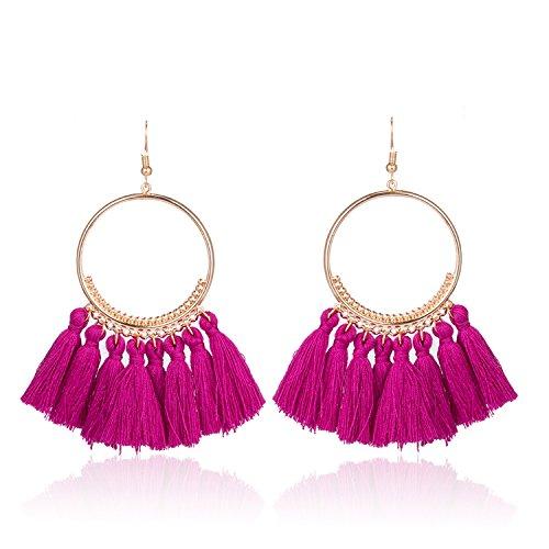 Earings Women Fashion Round Dangling Tassel Drop Earrings Women Ethnic Fantasy Fringed Fabric Earrings Boucles