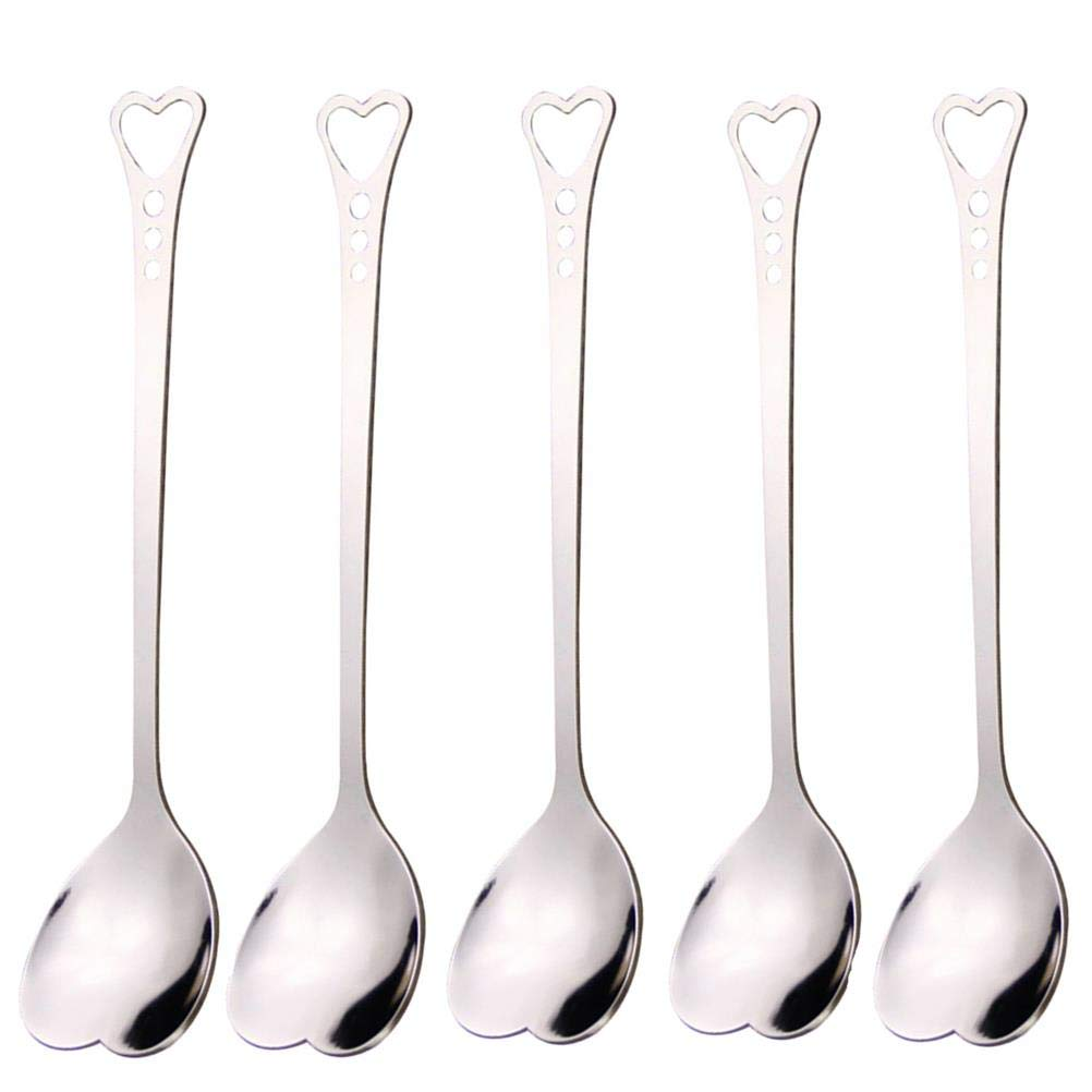 CosCosX 5 Pack 5.7 Inch Coffee Spoon Heart Shaped Stainless Steel Stirring Spoon Tea Spoon Soup Spoon£¬Silver Maple Leaves