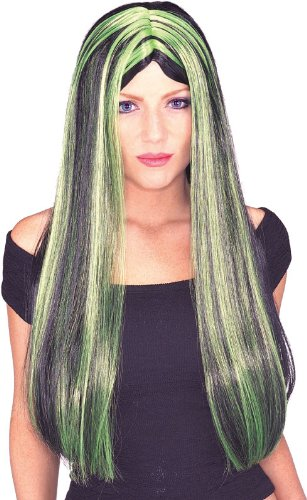 Rubie's Costume Black and Green 24-Inch Witch Wig, Black/Green, One Size