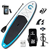 """FunWater All Round Inflatable 11'×32""""×6"""" for All Skill Levels SUP Everything Included with Stand Up Paddle Board, Adj Paddle, Pump, ISUP Travel Backpack, Leash, Repair Kit, Waterproof Bag"""