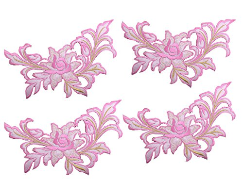 Large Flower Embroidery Applique Patches Sew on Pacthes Lace Fabric Motif Clothes Decorated DIY Sewing Supplies Fabric Ornament ()