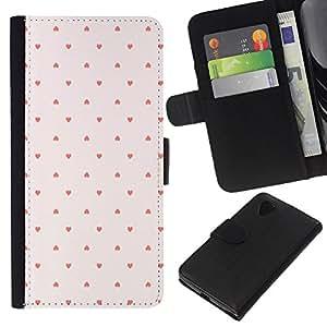Stuss Case / Funda Carcasa PU de Cuero - Modelo de punto Wallpaper Rosa Rojo - LG Nexus 5 D820 D821