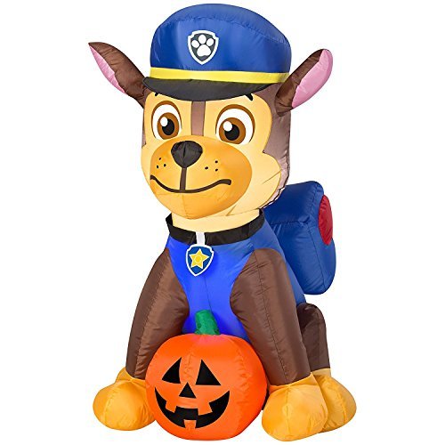 Gemmy Airblown Inflatable Chase From Nick Jr Paw Patrol Sitting With a Pumpkin - Holiday Decoration, 3-foot Tall x 2.5-foot Wide]()