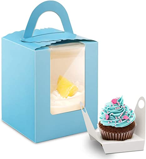 50 Pcs Single Cupcake Boxes with Window Insert and Handle,Kraft Cupcakes Containers Gift Boxes for Bakery Wrapping Wedding Birthday Party Packaging Boxes,Cupcake Holder Candy Boxes for Birthday Party