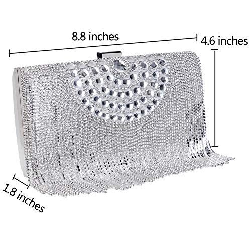 Dress Bags Wedding Chain Purse Clutch Bags Womens Silver Diamante Ladies Silver PU Evening Wallet nZZrqYHS