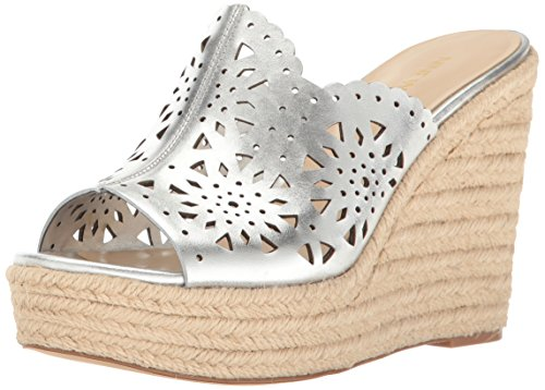 Nine West Women's Derek Leather Wedge Sandal, Silver, 10.5 M US