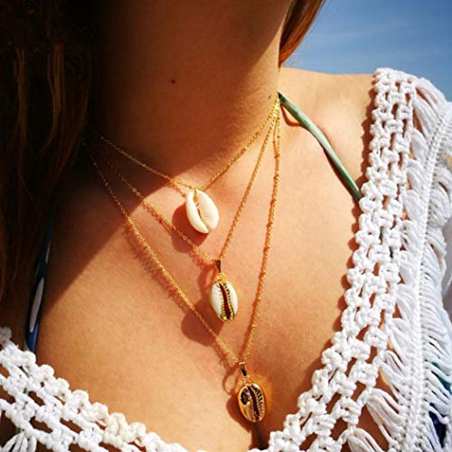 FDesigner Vintage Layered Cowrie Shell Necklaces Chain Gold Sea Shell Pendant Decorative Chains Jewelry for Women and - Sequin Shell Necklace