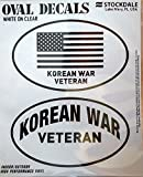 Korean War Veteran Korea 2-Pack EURO STYLE Vinyl Oval Home Auto Decals Sticker United States US Military