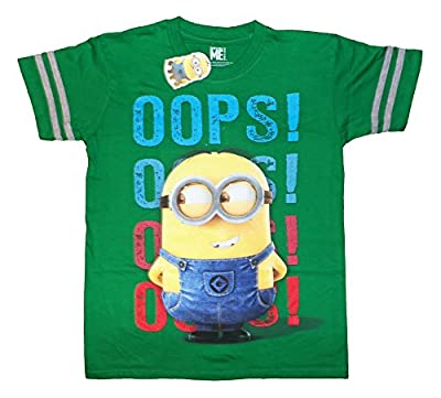 Despicable Me Minions Bob Oops! Cartoon Movie Character Kids Stripe T-Shirt
