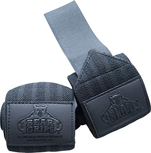 Bear Grips Gray Series, White Series Wrist-Wraps, Extra-Strength Wrist Support, Wrist Brace for Workouts (Colors: Black on Black, Sizes: 18, Sold in Pairs, Two Wrist Straps per Pack)
