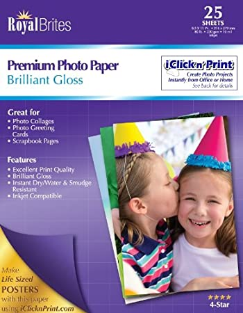 Amazoncom Royal Brites Premium Glossy Photo Paper 85 X 11 Inches