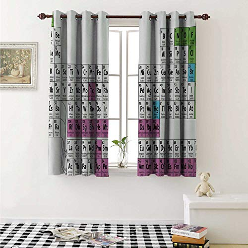 Periodic Table Blackout Draperies for Bedroom Colorful Chemistry Science Club Print for Teacher Students Curtains Kitchen Valance W72 x L63 Inch Purple Green Black and White