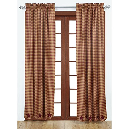 VHC Brands Classic Country Primitive Window Star Red Scalloped Curtain Panel Pair, Burgundy (Berry Curtains)