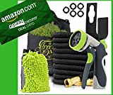 50ft Expandable Garden Hose High Pressure Triple Natural Latex Core, Solid Brass Connector Extra Strength Fabric + 8 Pattern Spray Nozzle + Free Bonuses/Green Oasis {ALL NEW 2018}