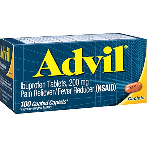 Advil Temporary Pain Reliever/Fever Reducer Coated Caplet 200mg Ibuprofen, 100 Count ()