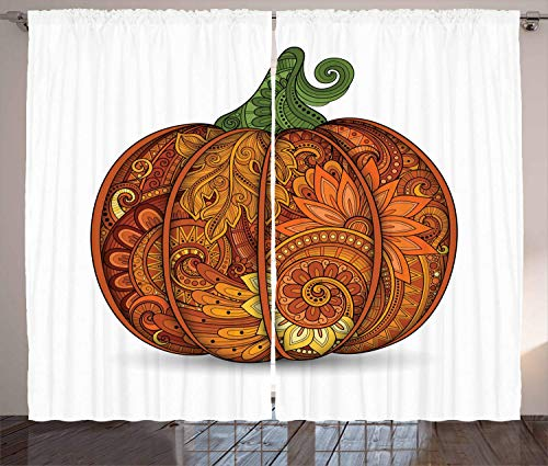 (LQQBSTORAGE Vegetable Curtains,Thanksgiving Symbol Ethnic Pumpkin with Flowers Paisley Mandala Forms Insulating Room Darkening Blackout Drapes 2 Panel Set W55 x L63/Pair Orange)