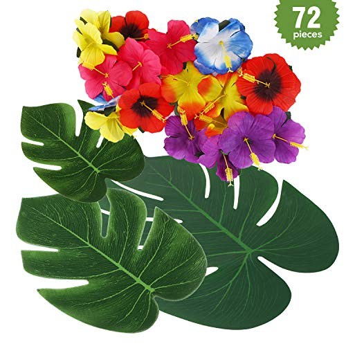 72 pcs 3+1 Kinds Tropical Artificial Plant Party Supplies Decorations, Hawaiian Flower and Monstera Leaf Palm Leaves for Jungle Beach Themed BBQ Birthday Safari Luau Weddings Party (Plant With Red Leaves And Yellow Flowers)