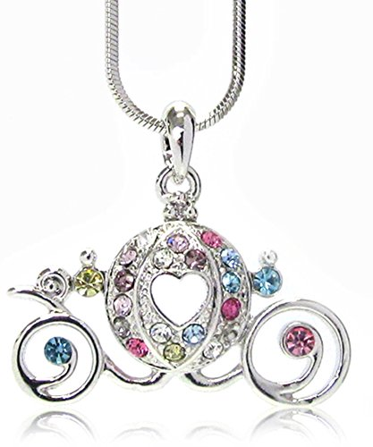 Pretty Princess Pumpkin Carriage Fairy Tale Charm Necklace Jewelry for Girls, Women, Teens