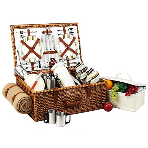 Picnic at Ascot Dorset English-Style Willow Picnic Basket with Service for 4, Coffee Set and Blanket - Santa - Baskets English Willow