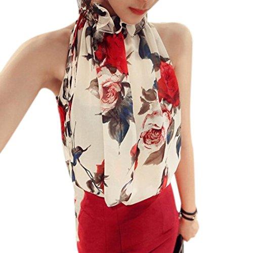 Floral Ruffle Skirt (Creazy® Sexy Women Chiffon Sleeveless High Ruffle Neck Floral Shirt Tops Blouse (M,)