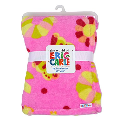 Eric Carle Baby Plush Printed Blanket, Large Baby Blanket, Toddler Crib, Stroller, and Carrying Cover, The Very Hungry Caterpillar, 30 By 40 Inches, Neutral (Coral Fleece Stroller Blanket)