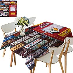 UHOO2018 Square/Rectangle Polyester Table Cloth Utah USA November Ameri License plaates behin tique Gas Pump on November Easy Care Spillproof,52 x 716inch
