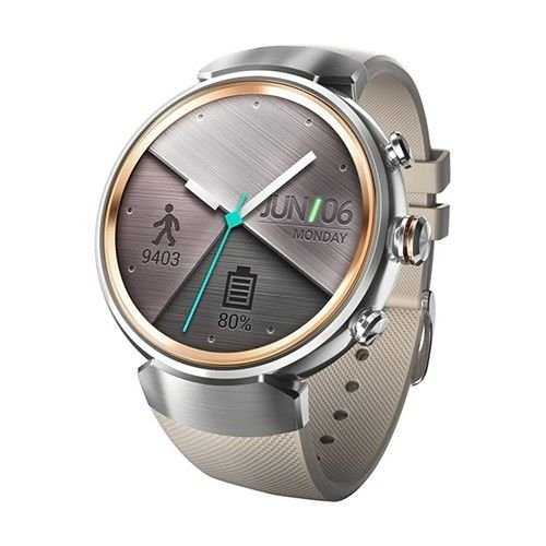 """Asus Zen Watch 3 [WI503Q-2RBGE0015] 1.39"""" Android Silver Face with Beige Rubber Strap"""