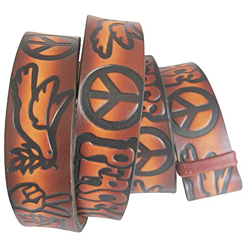 (Embossed Love & Peace Sign Brown- Genuine Tooled Interchangeable Leather Belt Strap. STRAP ONLY! Brown 34 inches)