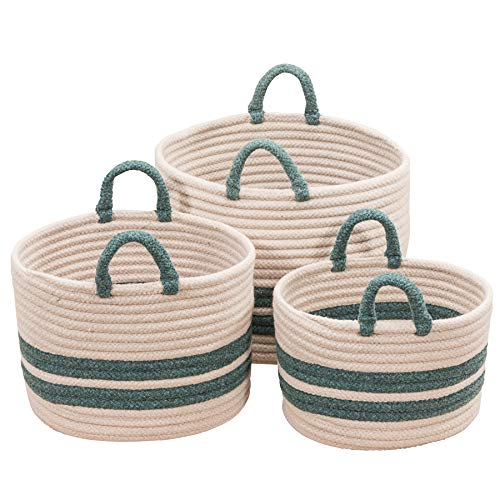 "Scott Living Coastal Line Basket, 18""x14""x14"", Teal"