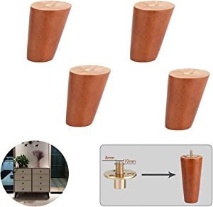 4 Solid Wood Furniture Legs, Dresser Legs, Sofa Replacement Legs, Cone Cabinet Feet, For Ottoman Armchair Bed Coffee Table, Rubber Wood, M10 Bolt Installation, Walnut, Various Sizes (Tilt 8cm / 3, 1