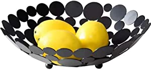 Metal Creative Countertop Fruit Basket Bowl, Large Round Black Decorative Table Centerpiece Holder Stand for Fruit Vegetable, Bread, Candy and Other Household Items, 11.6 Inch (Black)