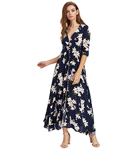 (Milumia Women's Button Up Split Floral Print Flowy Party Maxi Dress Small Navy_Pink)