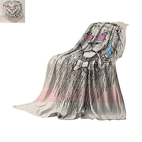(Animal Throw Blanket Magestic Lion Head Hipster Style Glasses Pipes Sketch Print Warm Microfiber All Season Blanket for Bed or Couch 50