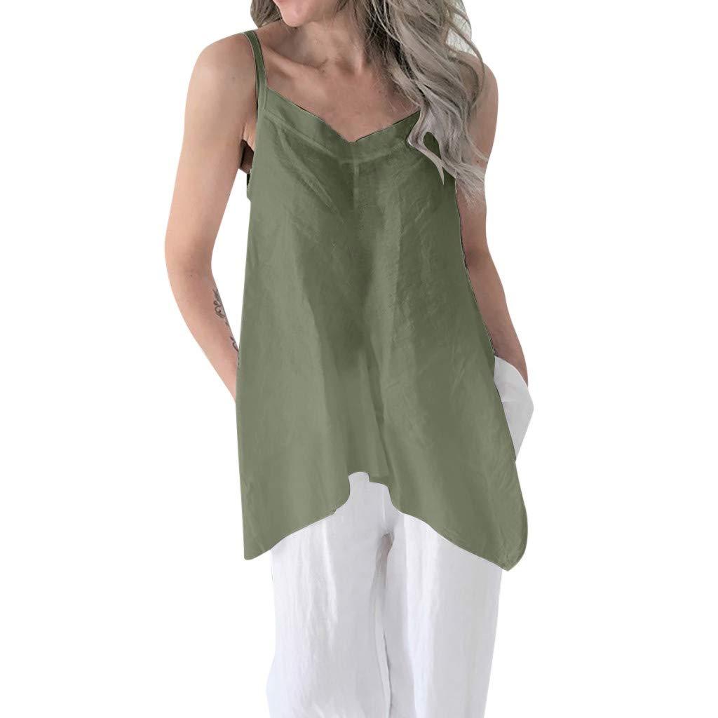 iYBUIA Womens Solid Color V-Neck Irregular Hem Strap Vest Loose Soild Linen Tunic Top