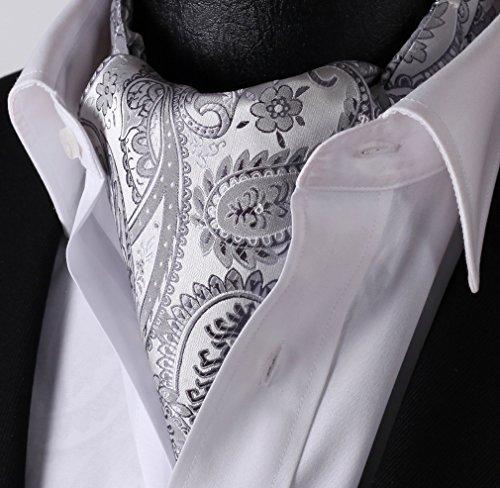 SetSense Mens Paisley Jacquard Woven Self Cravat Tie Ascot