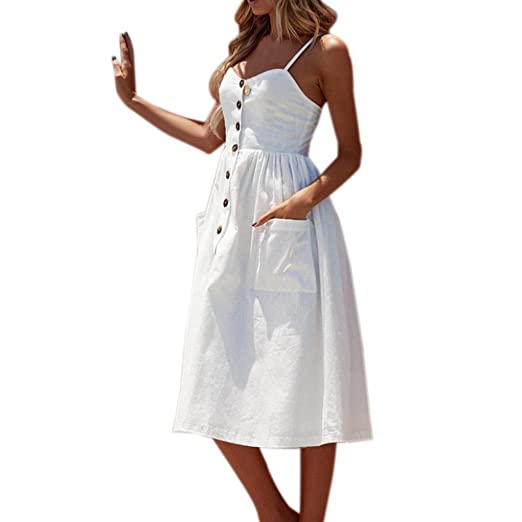 Vestido Para Mujer,Vestido Para Mujer,BBestseller Las mujeres verano Sexy botones Solid off