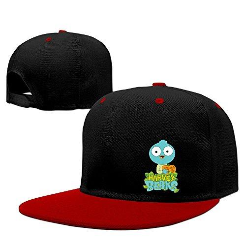 harvey-beaks-unisex-100-cotton-red-adjustable-snapback-trucker-hats-one-size