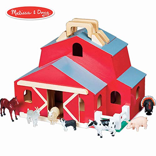 (Melissa & Doug Fold & Go Barn With 7 Animal Play Figures)